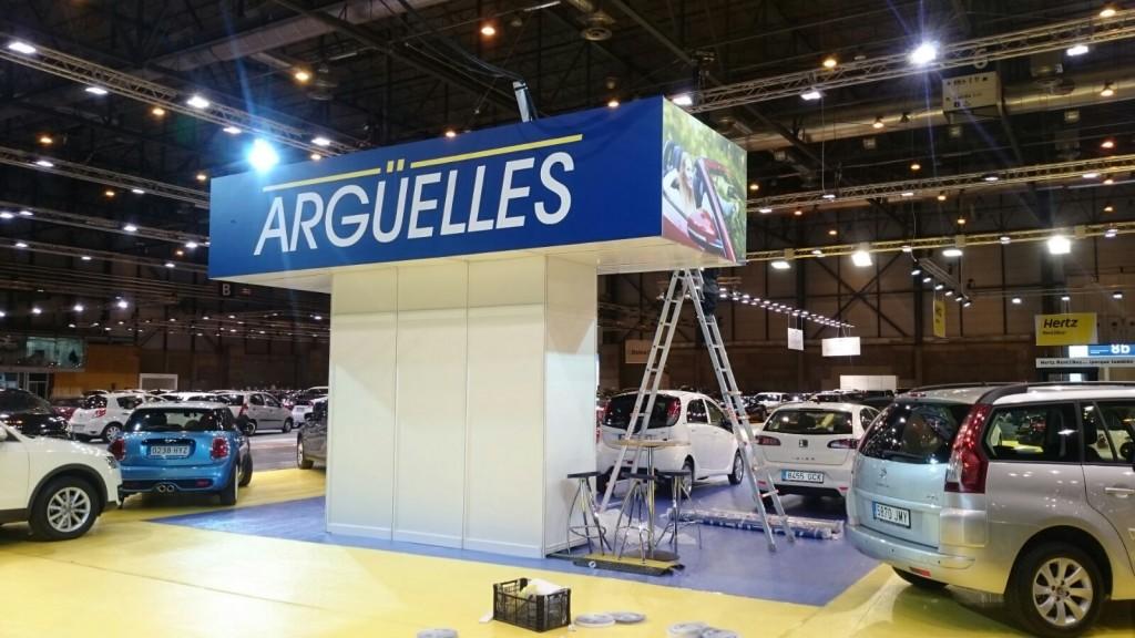 Almacén rotulado Stand Automóviles Argüelles en IFEMA Salón Vehículo Ocasión por Diseño y Publicidad