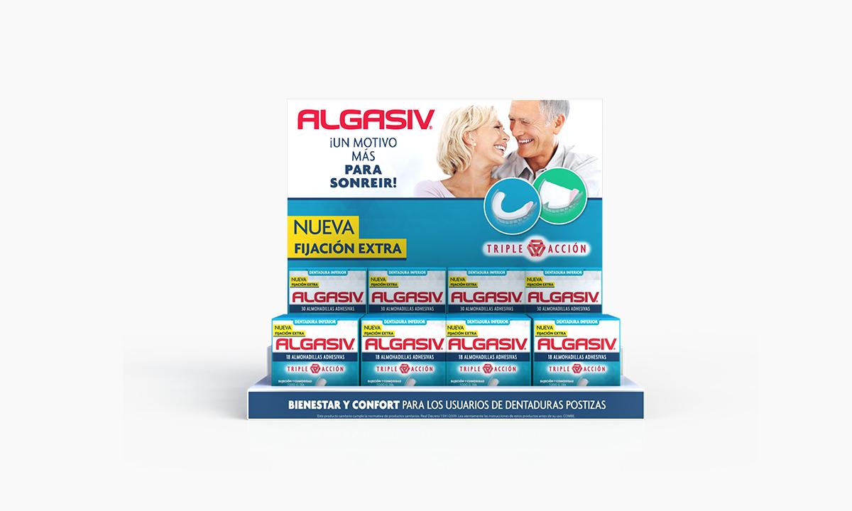 Algasiv | Adhesivo bucal | display | diseño y publicidad | desarrollo | diseño de expositores | diseño de mostrador | bocetos 3d