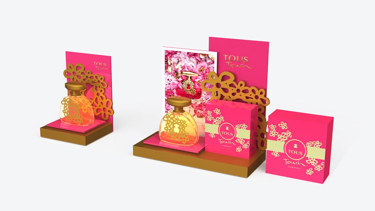 display | metacrilato | diseño y publicidad | TOUS | perfumes floral touch | plv