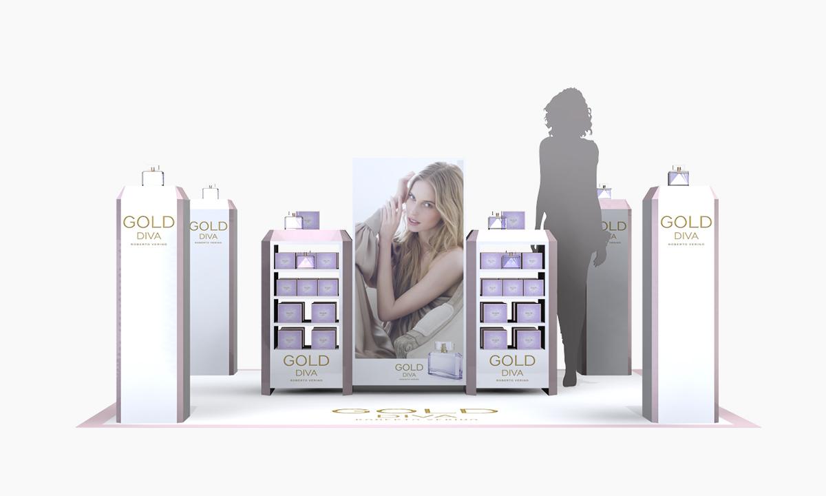 diseño de espacio comercial | corner para perfumes roberto verino