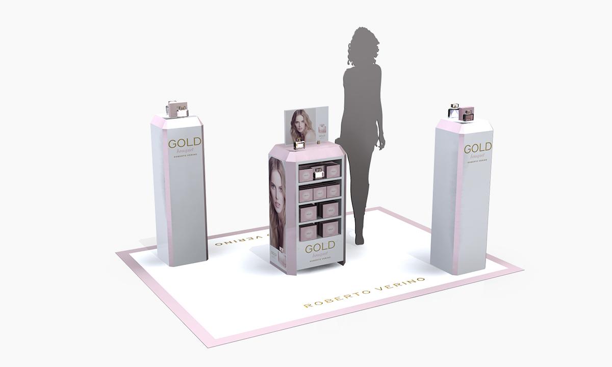 diseño y boceto 3d de espacio comercial para perfumes roberto verino