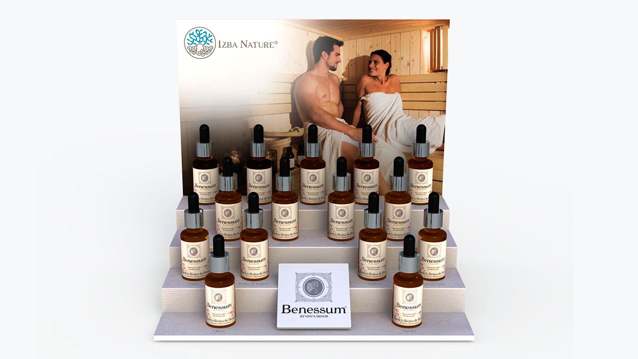 Diseño y Publicidad. Expositor probador mostrador aceites esenciales Izba Nature.