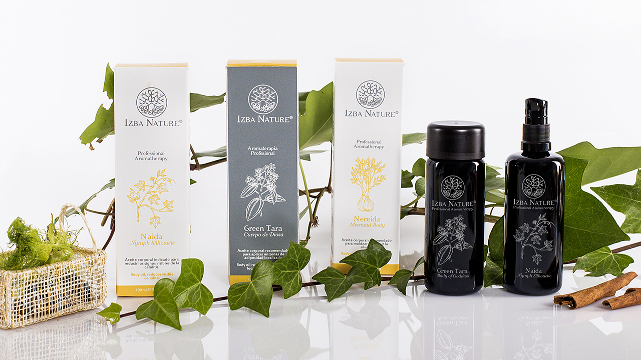 Diseño packaging aceites corporales Izba Nature