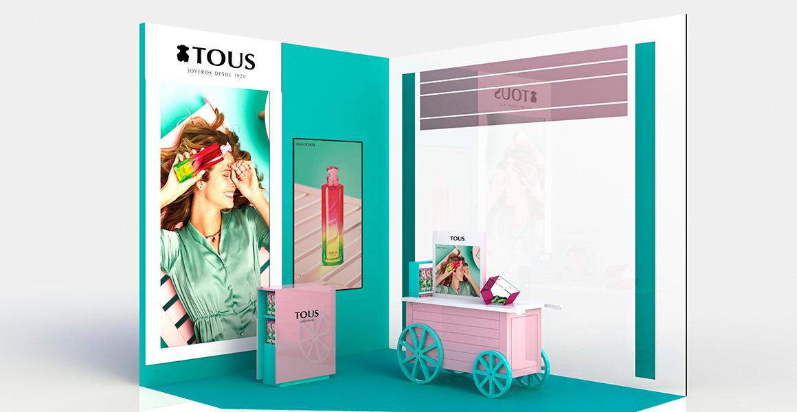 Visual merchandising para la fragancia Gems Power de TOUS.