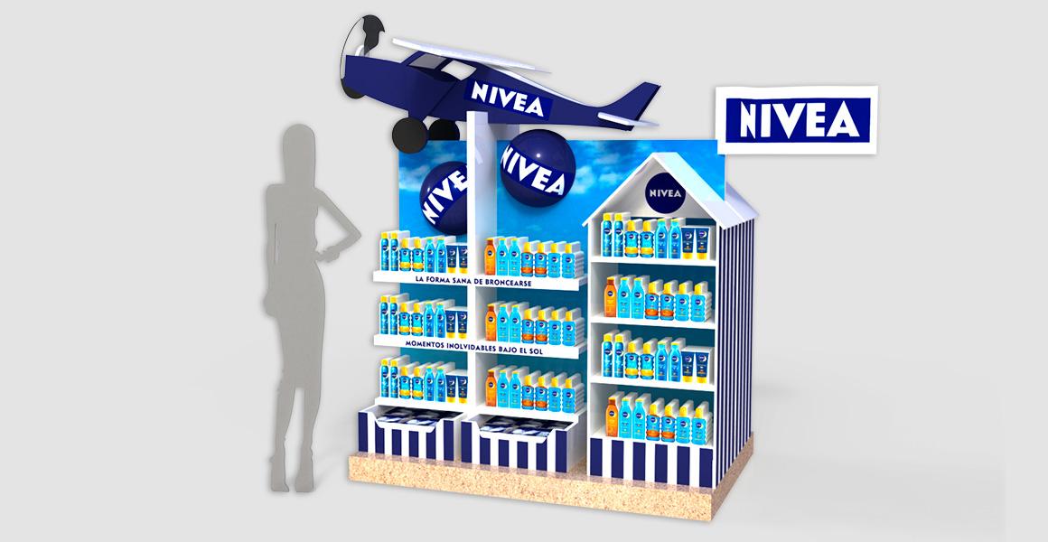 Diseño espacio promocional Nivea Sun.