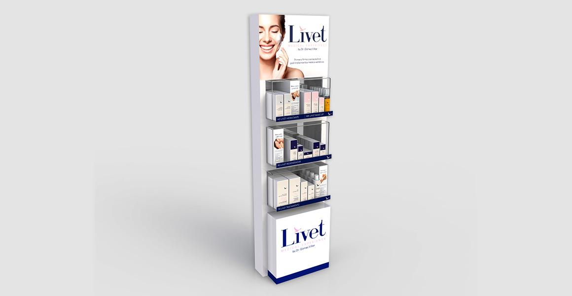 Display shelf stand para productos cosméticos Livet.