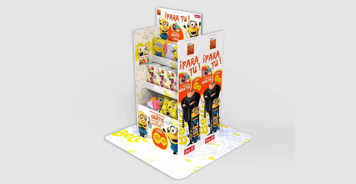 Expositor shelfstand para una promoción de los Minions, como acción de activación en el punto de venta.